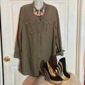 Olive H&M Button Up Dress NWOT